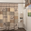 Thumbnail: SAWYER MILL CHARCOAL STENCILED PATCHWORK SHOWER CURTAIN