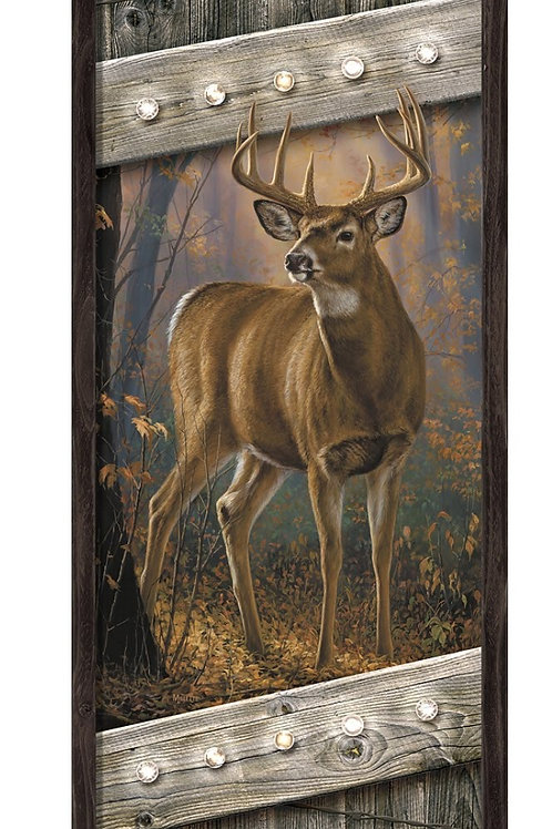 Whitetail Deer Lighted LED Canvas & Wood Sign