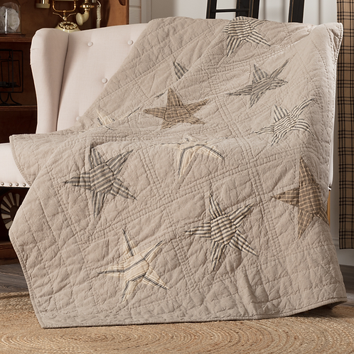 PRIMITIVE SAWYER MILL STAR CHARCOAL QUILTED THROW 60X50