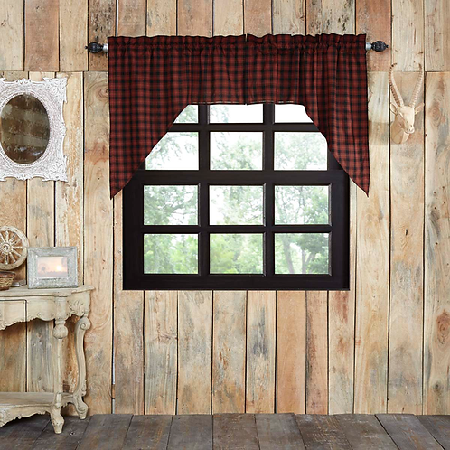 Rustic Cabin Lodge Red CUMBERLAND SWAG CURTAIN SET OF 2 36 X 36 X 16