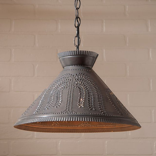 Irvin's Tinware Roosevelt Shade Light with Willow in Kettle Black