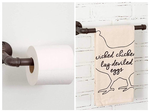 CTW Rustic Bathroom Toilet Paper Holder and Hand Towel Rack Bundle, Industrial C