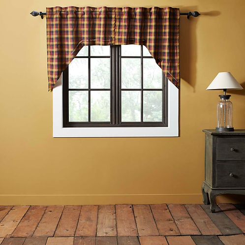 HERITAGE FARMS PRIMITIVE CHECK SWAG CURTAIN SET OF 2 36 X 36 X 16