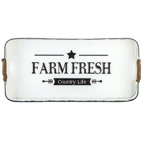 Farmhouse Country Primitive Farm Fresh Metal Tray with Jute