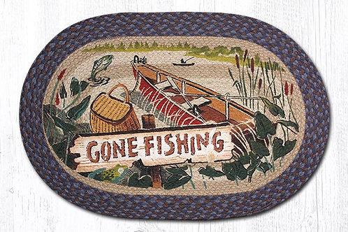 Earth Rug Jute Hand Stenciled Gone Fishing Boating Lake Rug