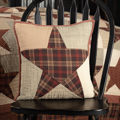 VHC Country Primitive ABILENE STAR QUILTED PILLOW 16 X 16