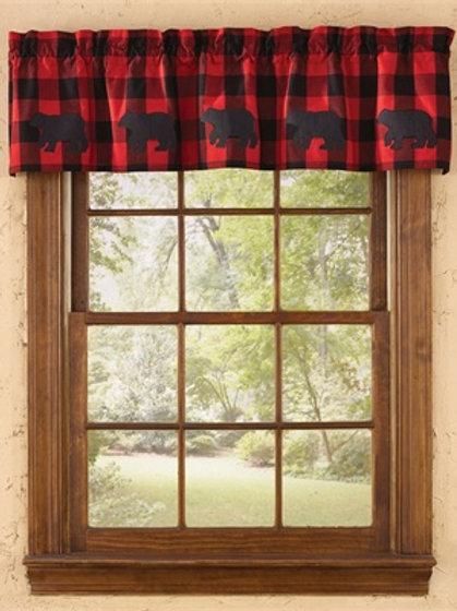 Buffalo Red & black Check Bear Applique Lined Valance