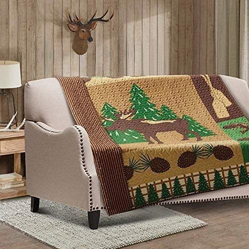 "Quilted Throw Blanket by Virah Bella - 50"" x 60"" Moose Wilderness"