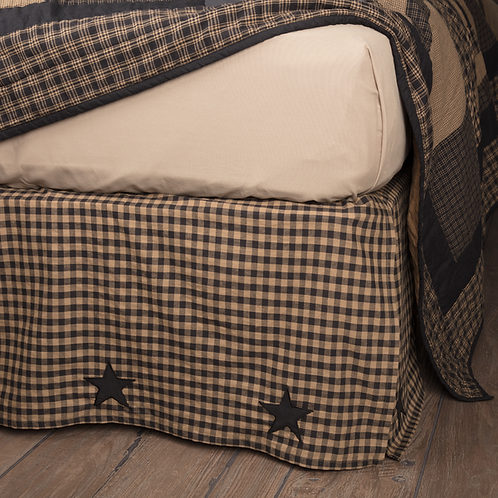 COUNTRY PRIMITIVE BLACK CHECK STAR BED SKIRT