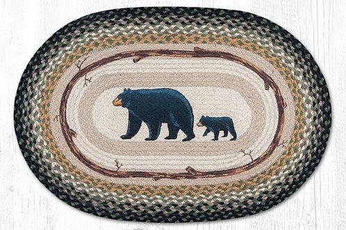 Earth Rug Jute Hand Stenciled Mama Bear and Baby Bear Cabin Lodge