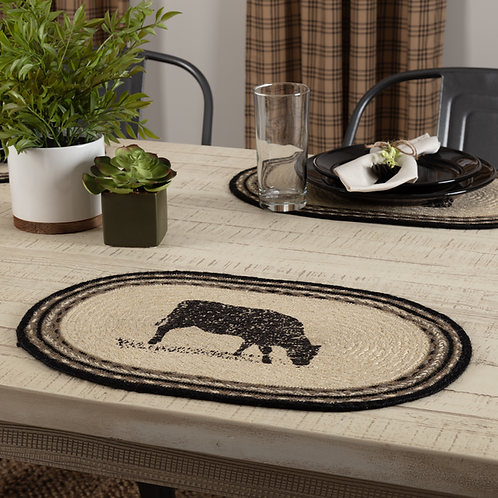 SAWYER MILL CHARCOAL COW JUTE PLACEMAT  12X18