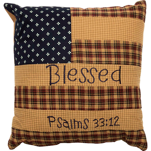 Country Primitive VHC PATRIOTIC PATCH PILLOW BLESSED 10 X 10