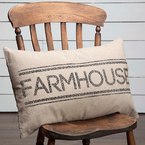 SAWYER MILL CHARCOAL FARMHOUSE PILLOW 14 X 22