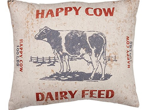 Primitives by Kathy Vintage Feed Sack Style, Throw Pillow, Happy Cow Dairy