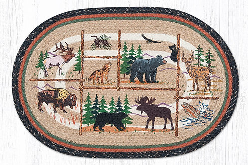 Earth Rug Jute Hand Stenciled Wild Forest Animals- Cabin Lodge