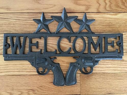 Cast Iron Pistols Welcome Plaque Guns Stars