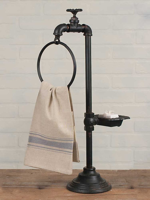Farmhouse Rustic Industrial Spigot Soap and Towel Holder