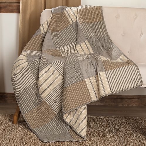 PRIMITIVE SAWYER MILL BLOCK QUILTED THROW 60 X 50
