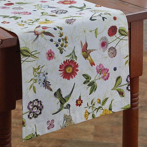 """Park Designs Zoey's Garden Table Runner - 54"""" L -White w/ Flowers & Birds"""