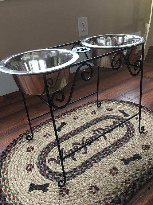 Amish Made Large Tall Pet Feeder + 2 Bowls