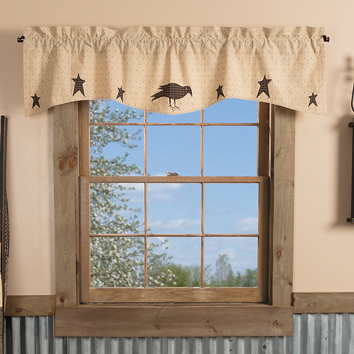 VHC KETTLE GROVE APPLIQUE CROW AND STAR VALANCE 16 X 60