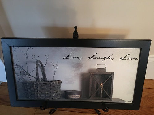 Country Primitive Billy Jacobs Framed Picture Live Laugh Love