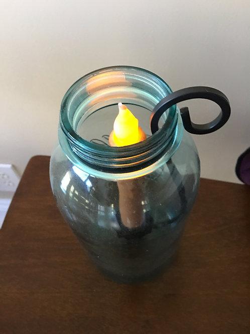 Black Mason Jar Taper Candle Holder - Candle holder only - Half Gallon