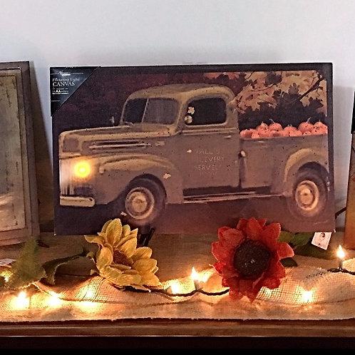 Lighted Classic Truck & Pumpkins Canvas