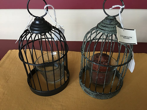 Birdcage Hanging Votive Holder w/ Glass Cup and Votive candle