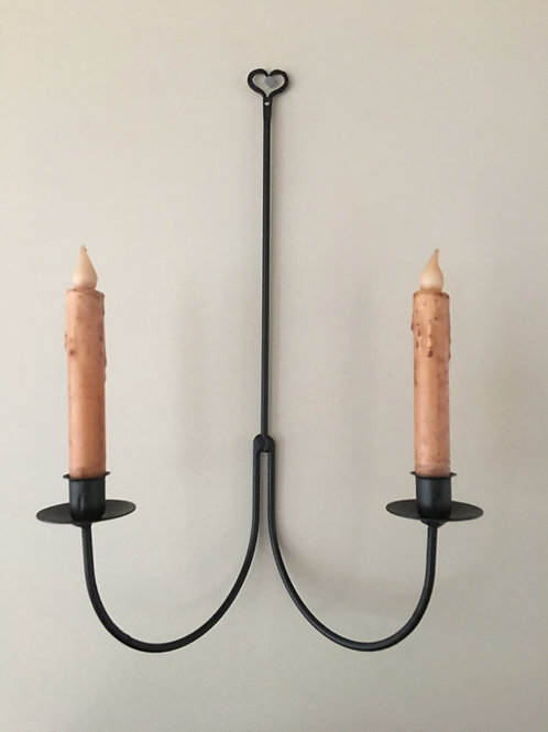 Country Primitive Wrought Iron Heart Double Candle Holder