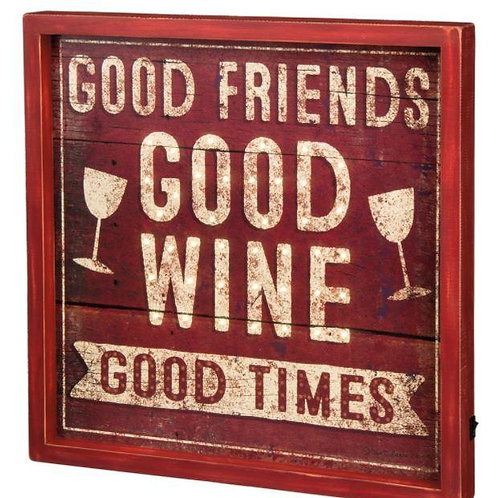 Primitives by Kathy LED Lighted Wooden Box Sign Wine & Friends