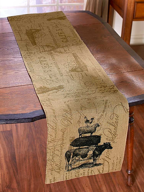 """Farm Life Burlap Home 72"""" Runner Cow, Pig, Sheep and Chicken"""
