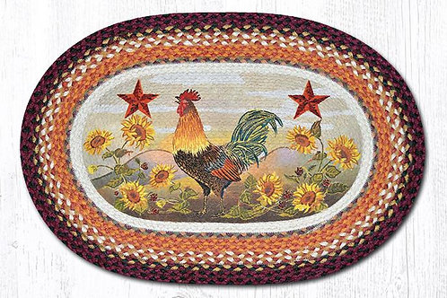Earth Rug Jute Hand Stenciled Country stars, Rooster and Sunflowers