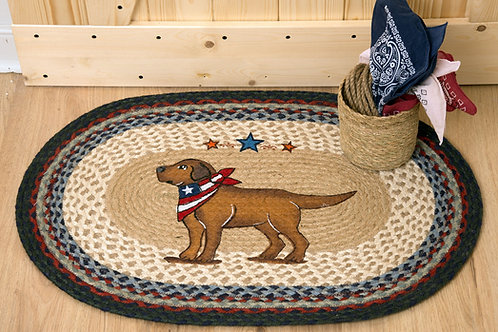 Earth Rug Jute Hand Stenciled with Yellow Lab Dog & Flag Handkerchief