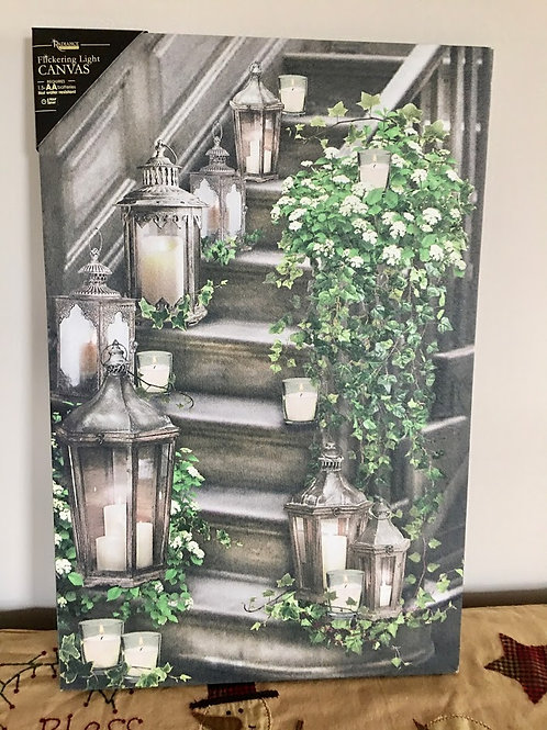 Lighted Staircase Canvas w/ Timer Ivy Spring Summer