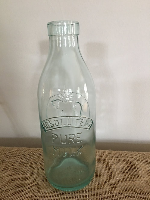 Antique Absolutely Pure Milk Quart Bottle Made in Italy