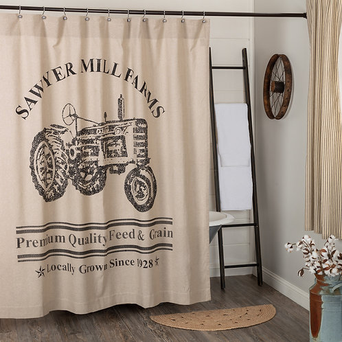 VHC SAWYER MILL CHARCOAL TRACTOR SHOWER CURTAIN 72X72