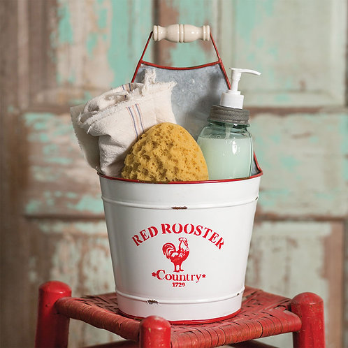 Primitive Metal Red Rooster Bucket Caddy White Enamelware