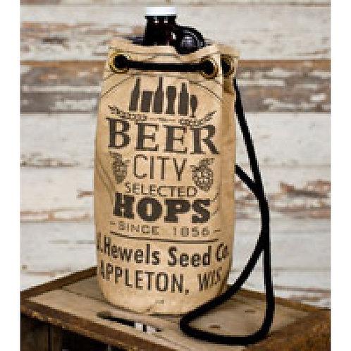 Country Primitive Burlap Beer City Growler Tote