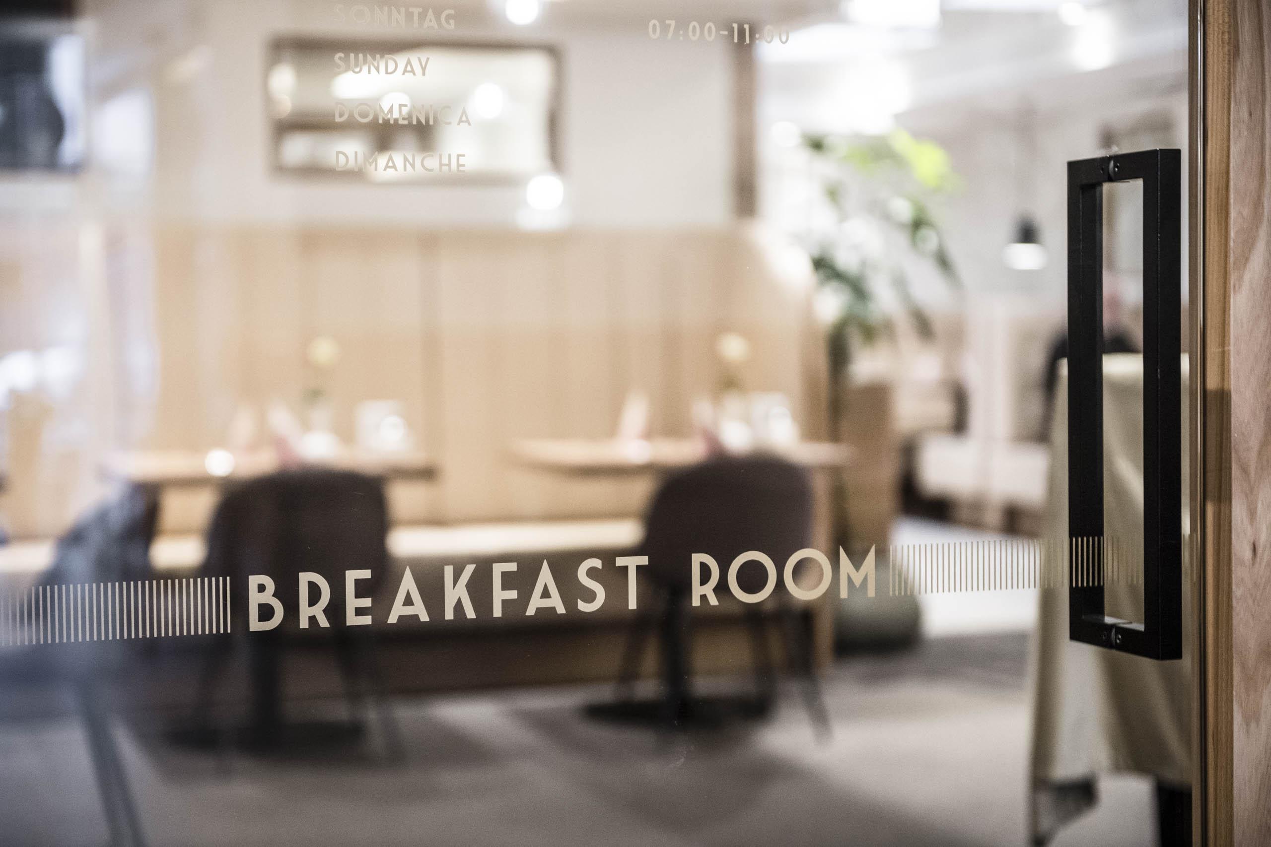 Beschriftung Frühstücksraum