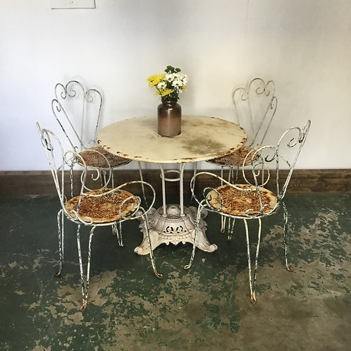 Vintage French Cafe Table and Chairs, Patio Furniture
