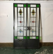 1930's Refurbished Stained Glass Crittall Doors
