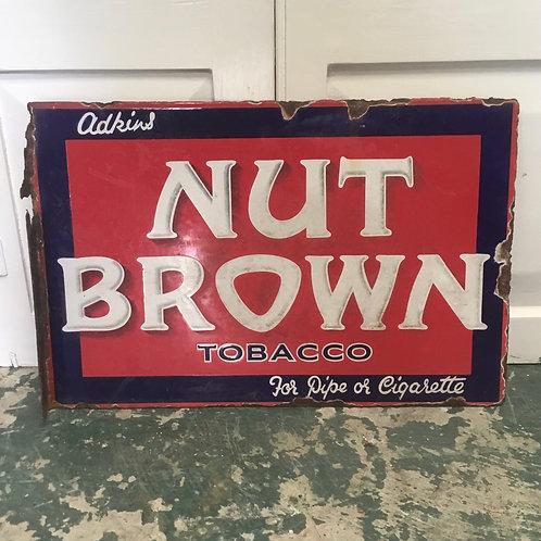 Vintage Enamel Advertising Sign for Nut Brown Tobacco