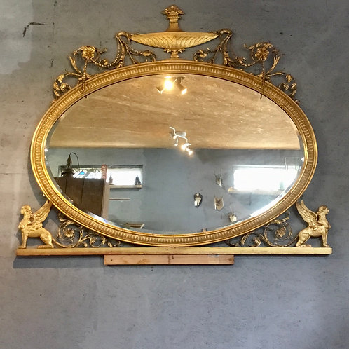Victorian Gilt Oval Over Mantel Mirror