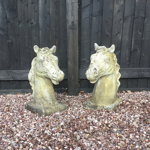 Pair of Stone Horses Heads