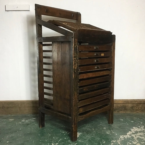 Victorian Pine Printers Work Stand with Printers Trays