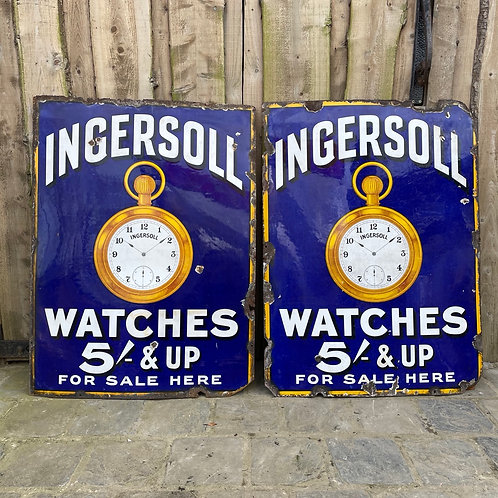 Pair of Vintage Enamel Advertising Signs for Ingersoll Watches