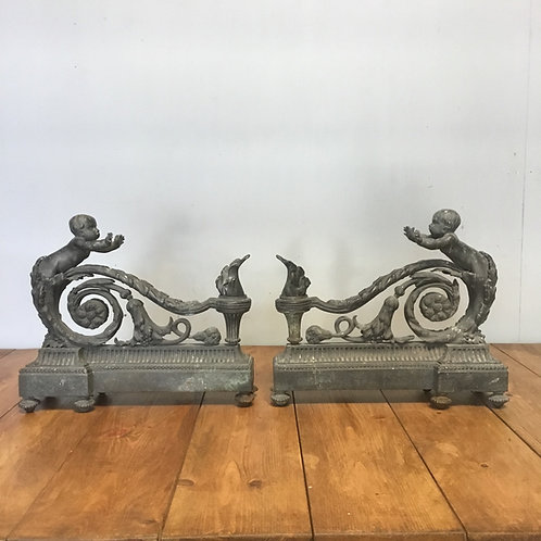 Early Victorian French Bronze Fireplace Chenet