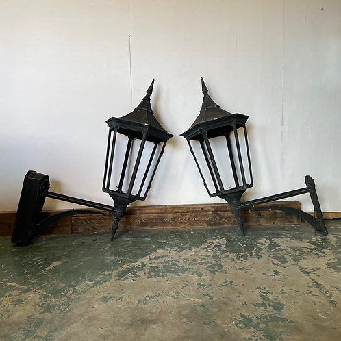 Pair of Large 20th Century Cast Aluminium Wall  Mounted Lanterns