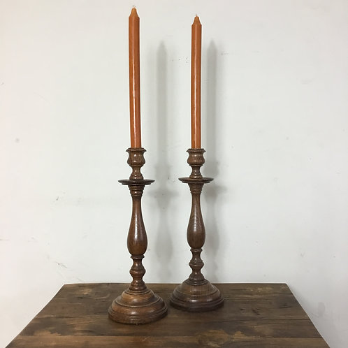 Pair of vintage Oak Candlesticks
